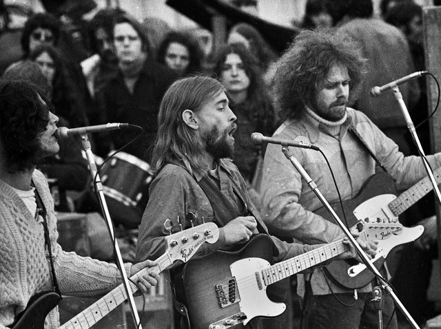 """American country rock band """"New Riders of the Purple Sage"""" at Bickershaw Festival in 1972."""