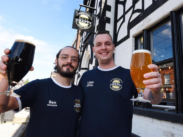 Manager Ben Cusick and his deputy Liam Hook outside Real Crafty