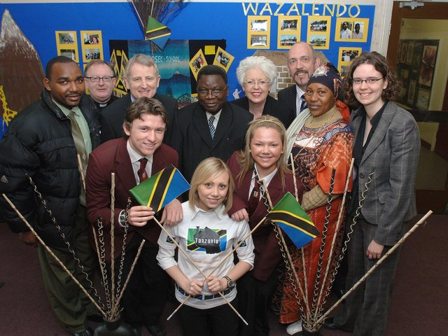 Hadija Mushi, Jacob Mbasha and Elisante Mmari, teachers from Tanzania, during their visit to St Cuthbert's in Wigan in 2007