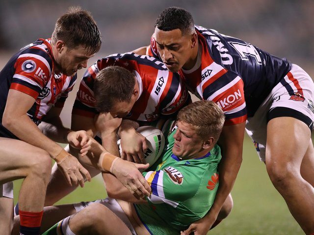 Ryan Sutton in action against Sydney Roosters