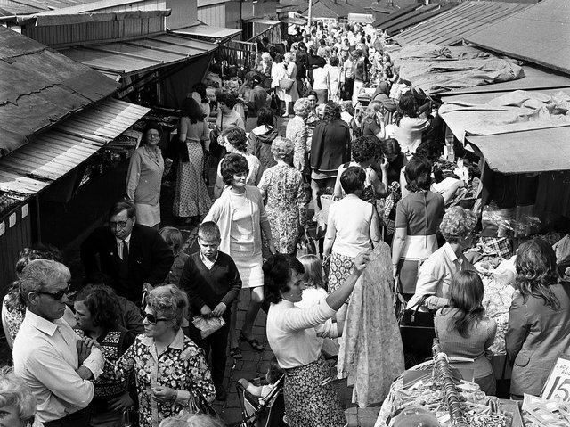 The days of busy stalls at Ashton market in 1972