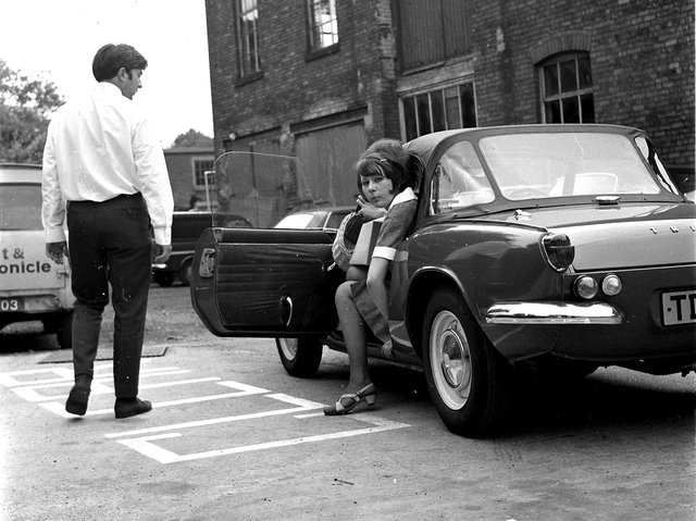 In 1968 reporters at the  Wigan Evening Post and Chronicle we ran a feature about how a lady should alight from a sixties British sports car, namely a Triumph Spitfire in these pictures from the Post archives.
