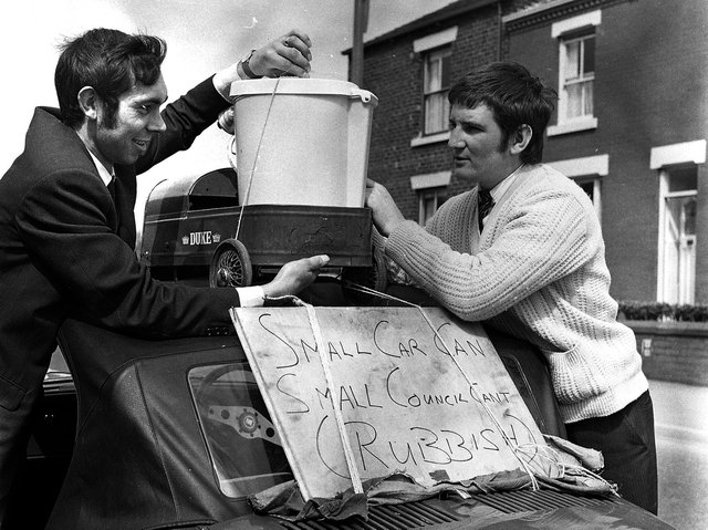 Residents protest at the lack of dustbin collections during 1970