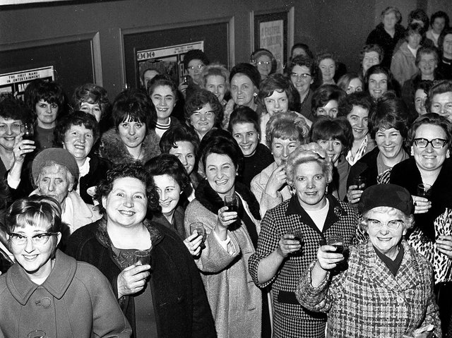 Members of Wigan's Elevenses Club enjoy an event at the ABC Ritz Cinema in Station Road, Wigan, in 1970