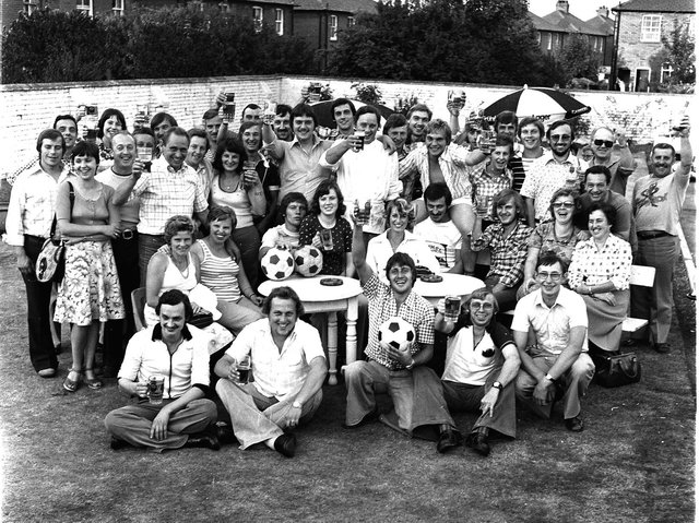 RETRO 1976 - A group of pub regulars enjoy the beer garden during the hot summer of 1976.