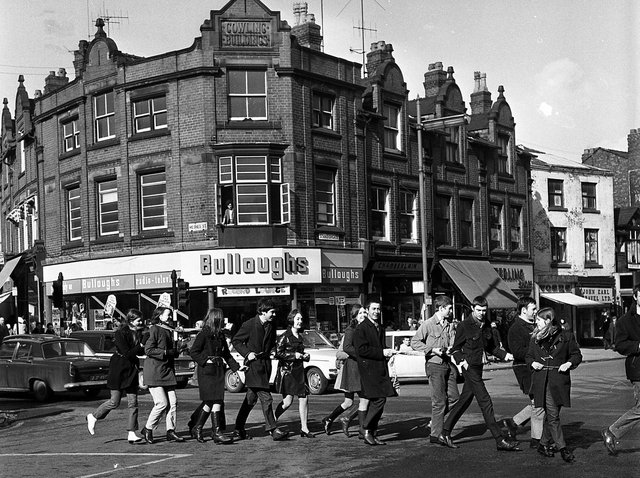 RETRO 1970 - Wigan Technical College students parade the town centre streets, attached to each other during Rag Week, collecting funds for local charities.