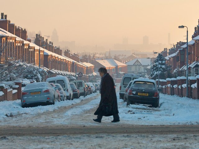 The streets of Wigan covered in snow, December 2010.
