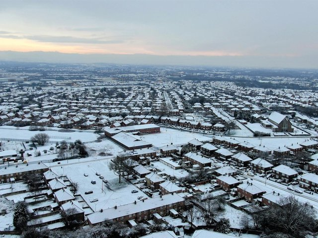 A snowy Wigan, captured by drone, courtesy of Brian King