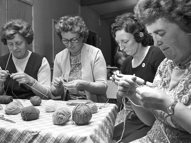 Members of Ashton knitting group begin their sponsored knit for charity in 1973
