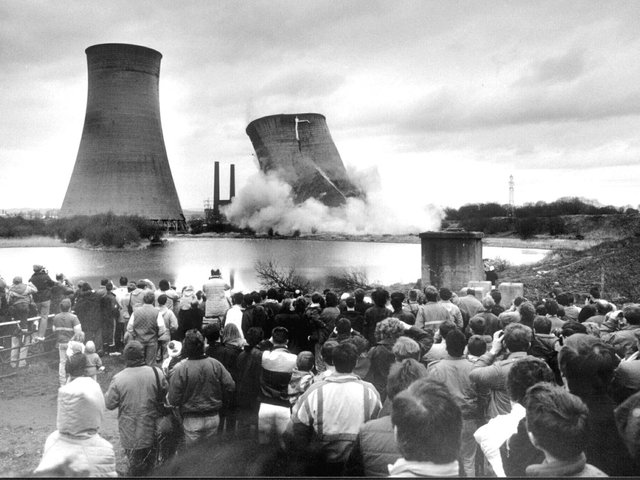 The first cooling tower is blown up at Westwood power station on January 15th 1989.