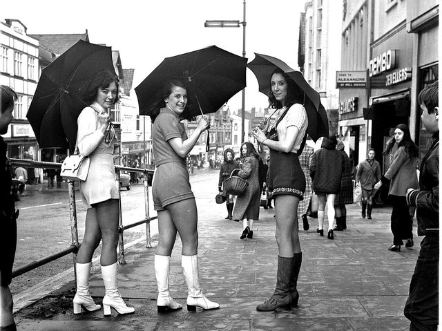 Hot Pants arrive in Wigan, these trendy girls turning heads along Standishgate in 1971