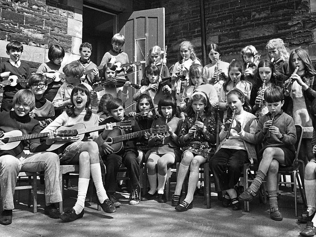School musicians at the old Birchley St. Mary's RC Primary School, Billinge in 1972.