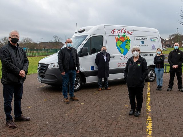 Council, JJH and Fur Clemt representatives with the van. Image: Wigan Council