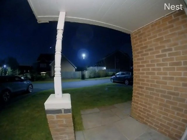 The meteor was captured by the doorbell camera