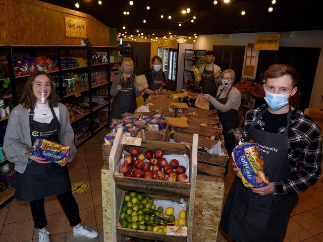 Staff at the new grocery