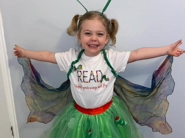 Erin, three, as The Hungry Caterpillar and butterfly.