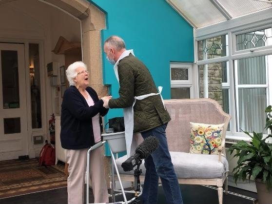 Marion Darbyshire is visited by her nephew Michael Gregory