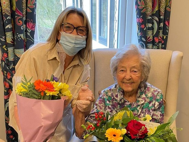 Susan Southern visits her mother Irene at Worthington Lake care home