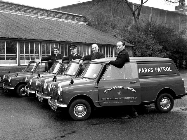 Wigan Parks Depot takes delivery of their new Austin Mini patrol vans in 1970