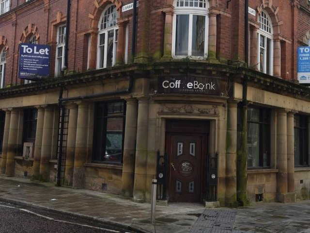 Exterior of former Coffee Bank cafe, on the corner of Wallgate and Library Street, Wigan