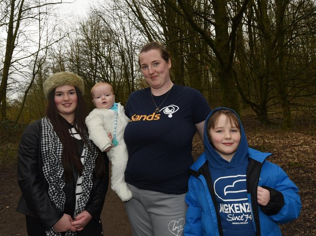 Natasha Harris pictured with children who are taking part in the walks too, from left, Kacy-Sky, 12, Murphy, seven-months-old and Charlie