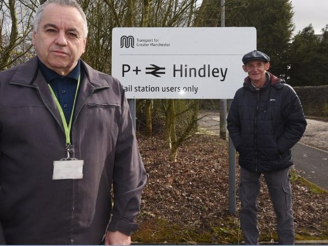 From left: Coun Paul Blay and Coun Jim Talbot at Hindley train station car park