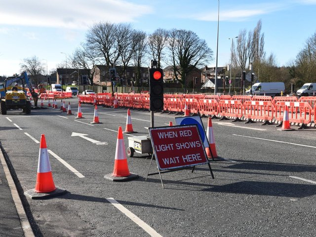 Road works on Warrington Road