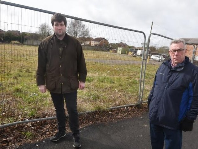 Coun Marsh and Whittingham on land off Preston Road, Standish - which could be a parade of shops and a car park