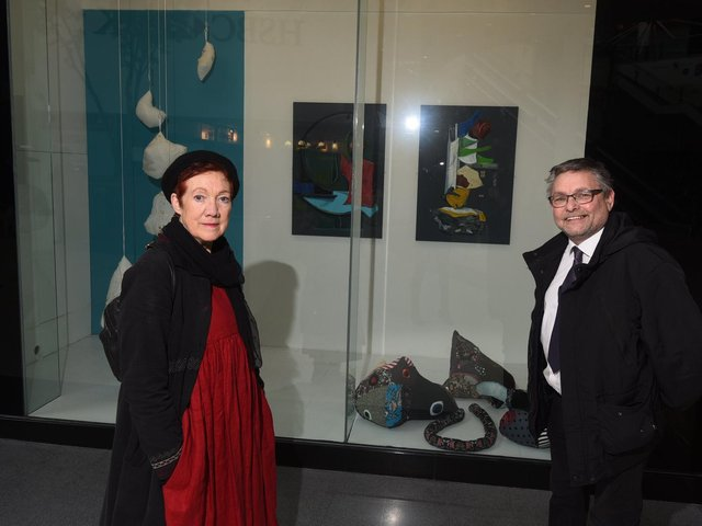 Jane Fairhurst and Coun Chris Ready with some of the artwork being displayed
