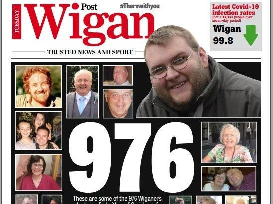 Today's Wigan Post front page marking the one-year anniversary of lockdown