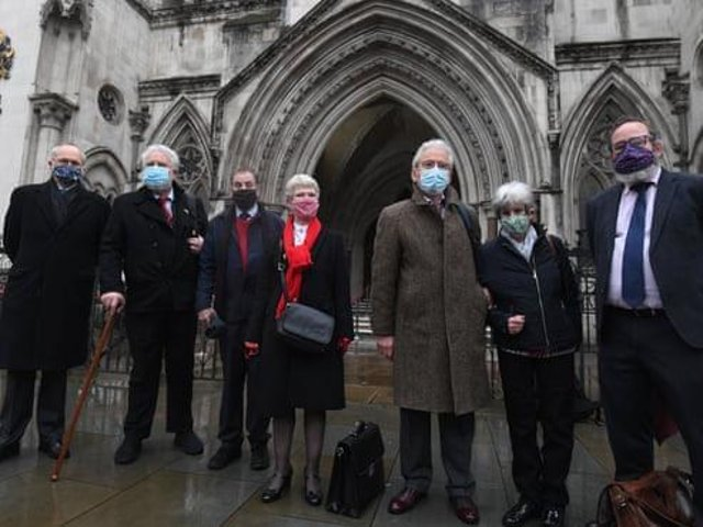 Members of the Shrewsbury 24 and lawyers outside the Court of Appeal in London