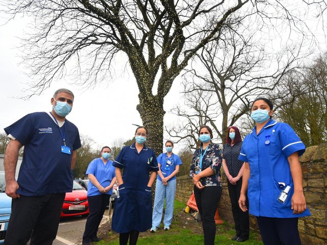 Staff at WWL with the Tree of Hope outside Wigan Infirmary