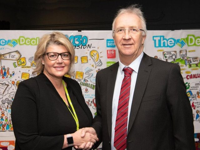 Alison McKenzie-Folan (left), CEO of Wigan Council, with Leader of the Council David Molyneux