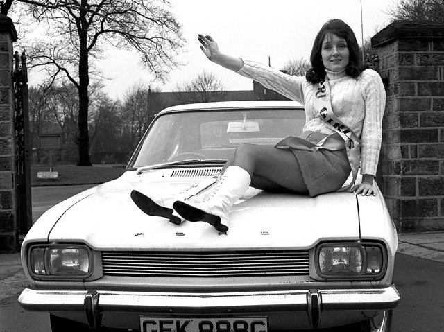 The new Ford Capri arrives in Wigan with Williams' Capri Girl promoting its sporty looks in 1969