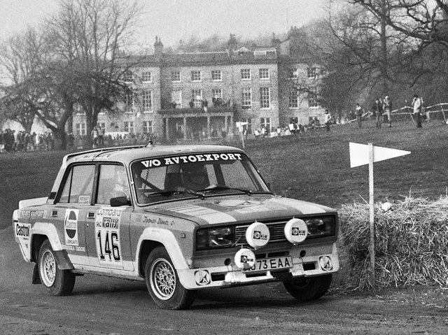 A stage of the Lombard RAC Rally which roared through the grounds of Haigh Hall Country Park on Tuesday 22nd of November 1983.