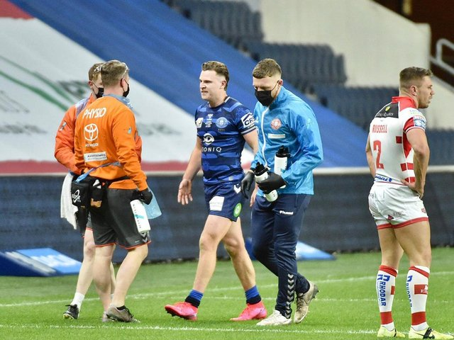 Jai Field leaves the pitch on his debut