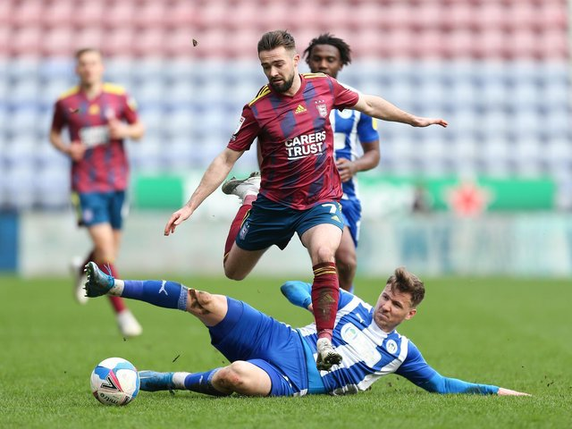 Lee Evans in action against Ipswich - his first appearance at the DW since last October