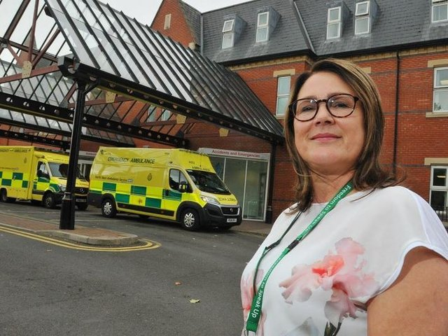 Mary Fleming, director of operations, outside A&E at Wigan hospital