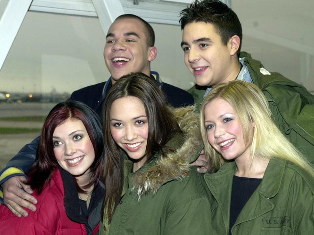 The winners from ITV's Popstars talent search arrive at Heathrow Airport from Oslo, Monday, February 5, 2001. From left, Kym Marsh, 24 from Wigan, Noel Sullivan, 20, Myleene Klass, Danny Foster and Suzanne Shaw,19.