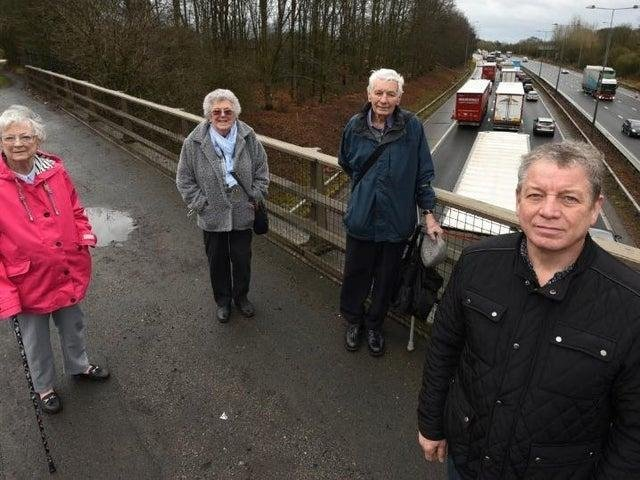 Members of Friends of Ashton pictured on the bridge over M6 near Ashton (junction 24), from left, Pat Grimshaw, Ethel Glover, Don Hodgkinson and Paul Tushingham