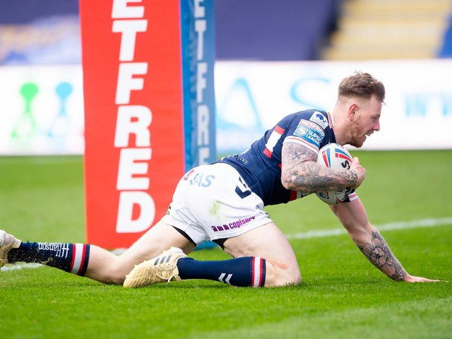 Tom Johnstone goes in for a try against Leeds last weekend. Picture: SWPix