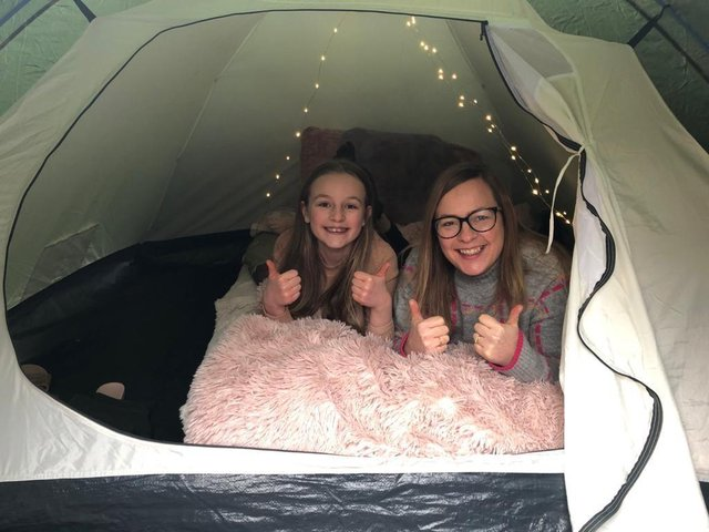 Evie and Jane Webb in their tent