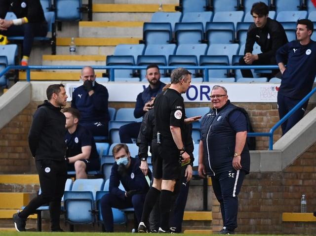 Gillingham boss Steve Evans making more friends in the technical area on Wednesday night