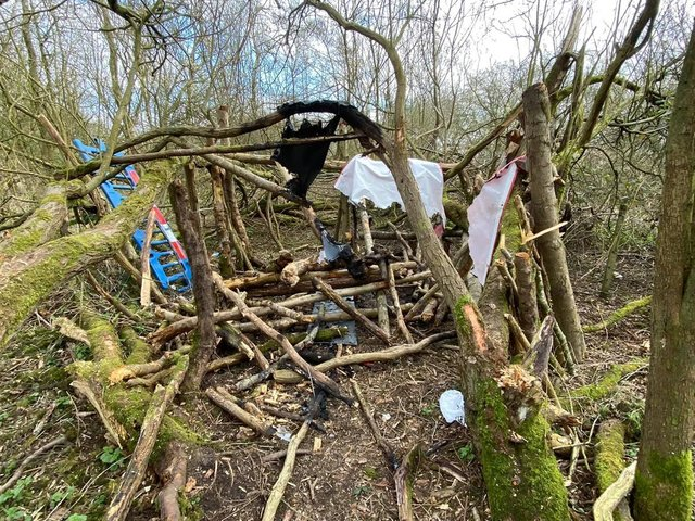 The ramshackle den in the woodland in Lowton