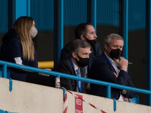 Mal Brannigan (second left) at Gillingham, with Sarah Guilfoyle (club secretary) and board members Richard Bramwell and Tom Markham