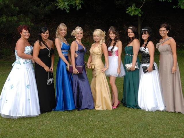 Byrchall High School Leavers Ball, from left, Elisha Judkins, Eve Briers, Amy Brown, Lauren Marsh, Reah Walsk, Billie Sawyer, Chloe Brighouse, Chelsea Miller, Kate Gallos.