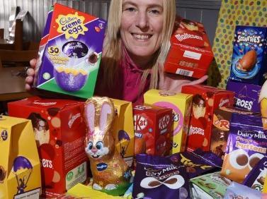 Helen Sharratt, owner of HEL'S Kitchen with the Easter hamper