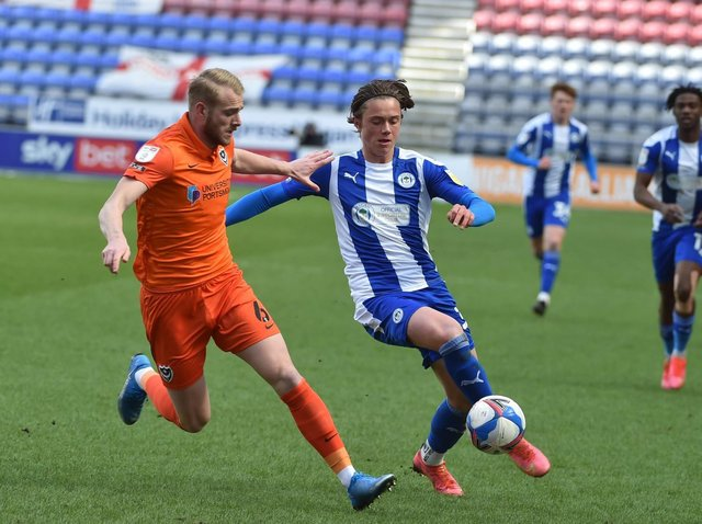 Thelo Aasgaard looks for an opening against Portsmouth