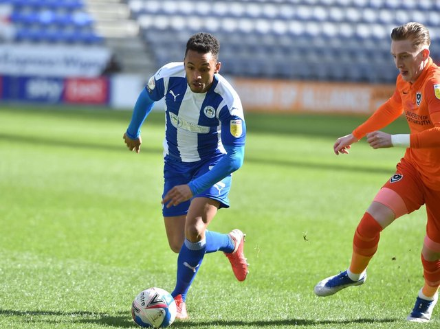 Funso Ojo in action against Portsmouth