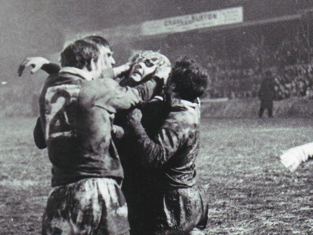 Cliff Hill is mobbed by Bill Francis, Geoff Lyon and Johnny Jackson after scoring a vital try against St Helens at Central Park in 1968